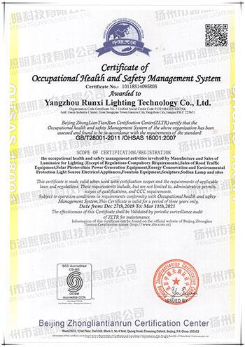 职业安康宁静办理系统认证证书